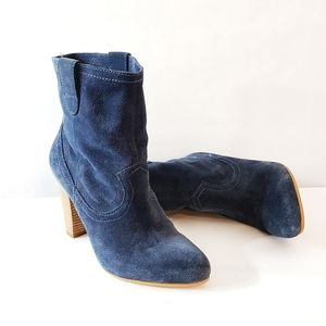 B. Mackowski Blue Suede Ankle Boots Size 6.5M